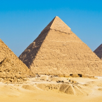 Pyramids of Giza on a clear day